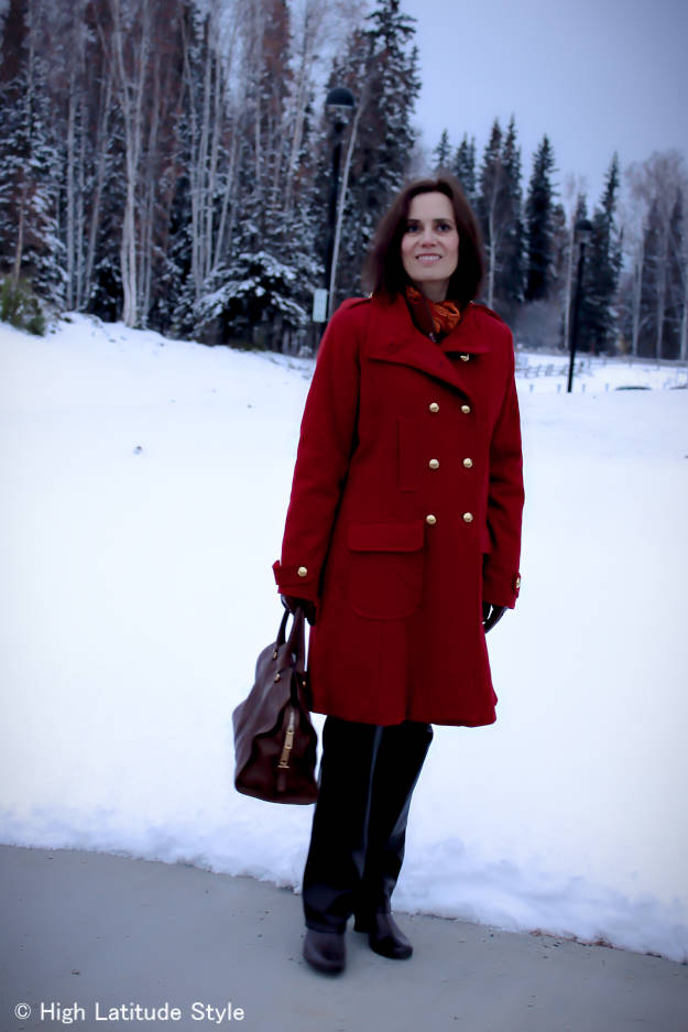 midlife style blogger in posh chic pea coat with leather pants