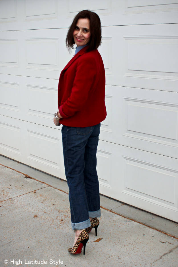 #casualFriday #fashionover50 blogger over 50 in red blazer, jeans, chambray shirt, pumps and pearls