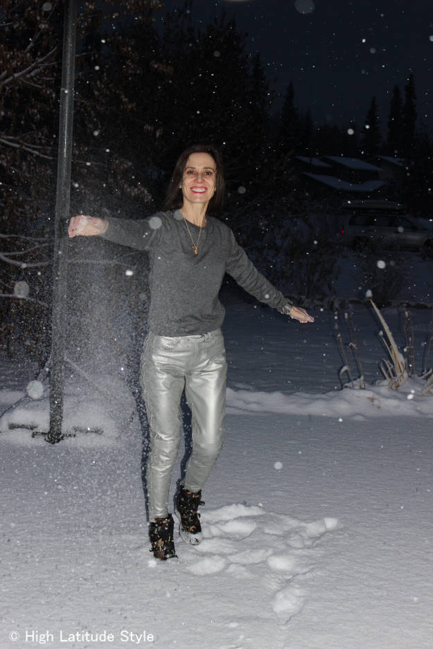 Alaskan fashion blogger having fun in a silver leather pants streetstyle