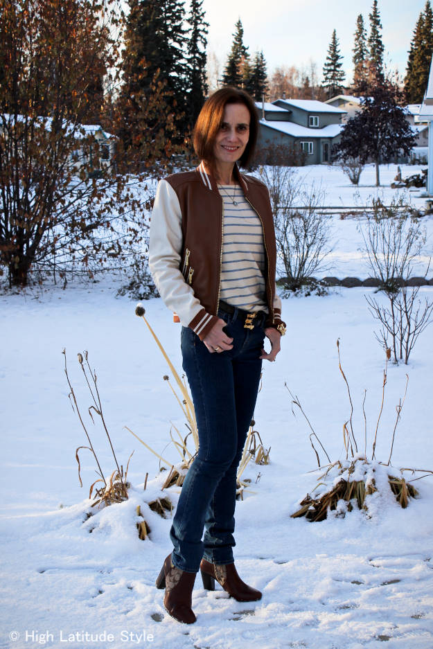 #over40fashion mature woman in a holiday season winter outfit