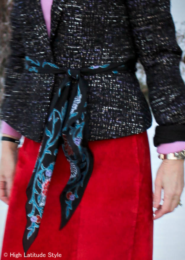 #styleover50 mature women wearing a scarf as belt