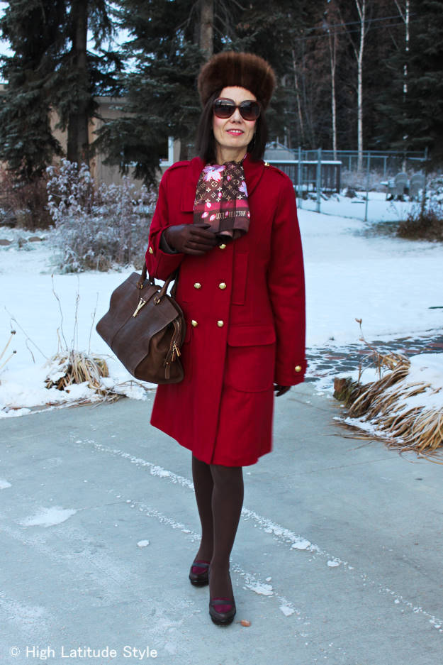 #over40style woman in pea coat with Russian hat