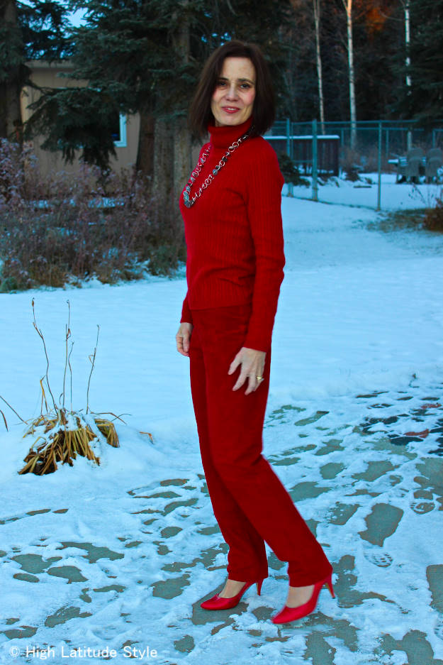 mature monochromatic red work outfit