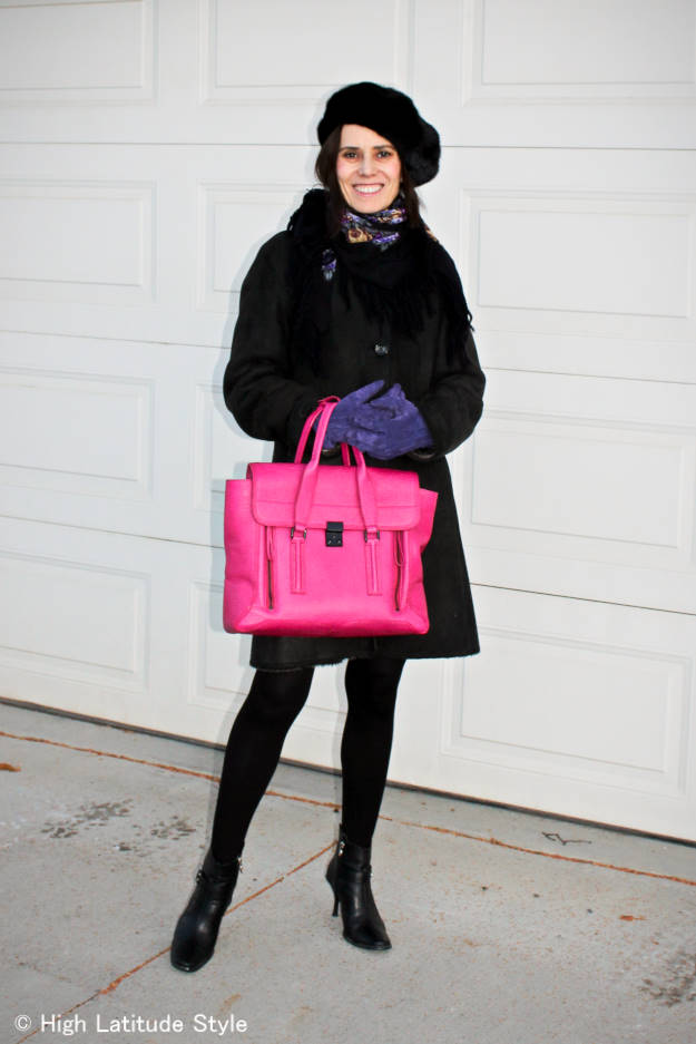 #midlifestyle woman in a fashion forward winter look with pops of color