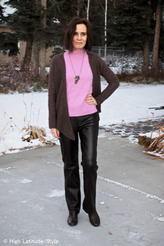 style over 40 Winter office look with pink sweater