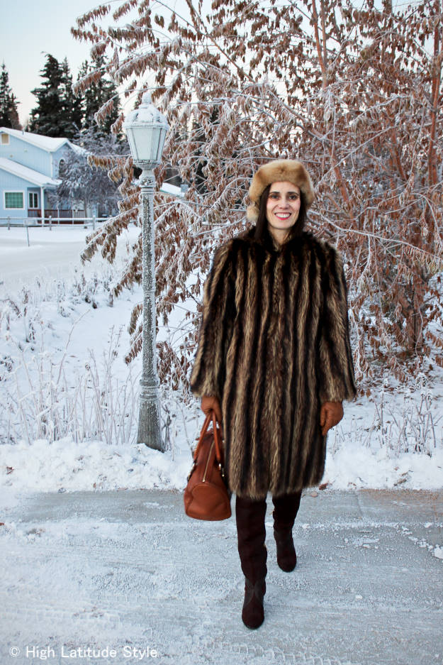 style blogger in classic winter look for windy cold weather