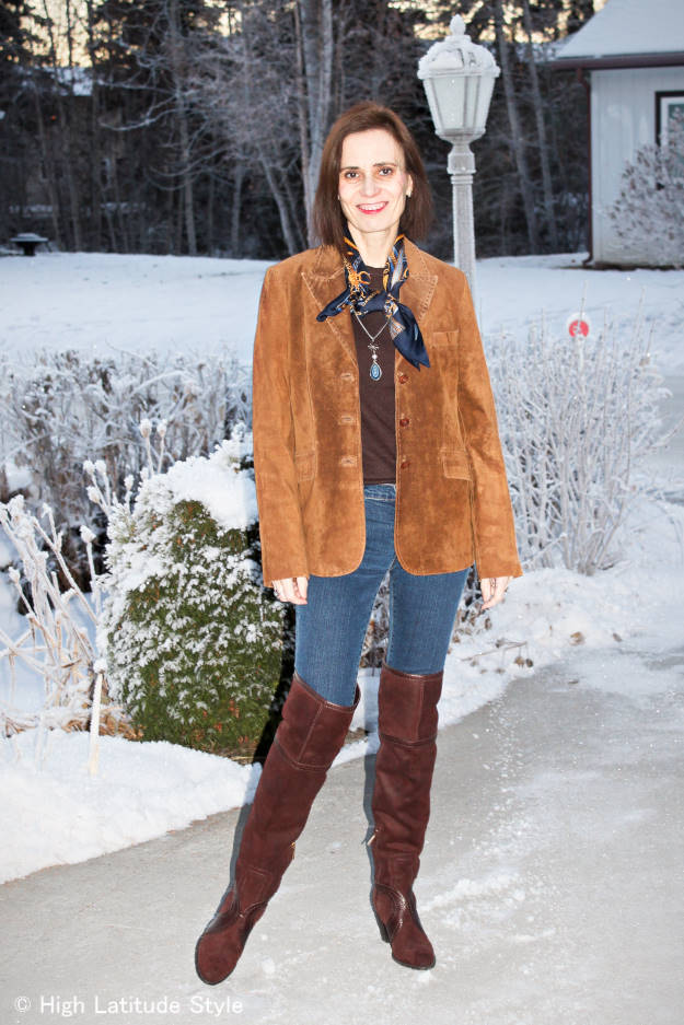 #maturefashion woman layering for a windy winter day