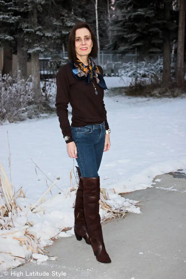 #fashionover50 Casual winter outfit with over-the-knee boots