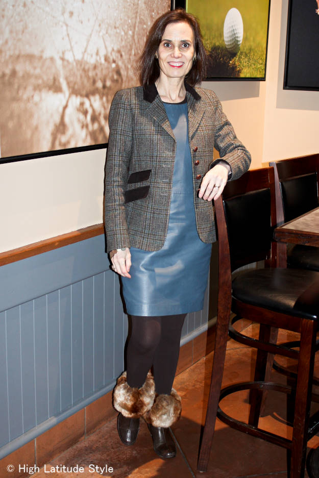 #over40fashion menswear inspired work outfit with Irish blazer with leather sheath dress