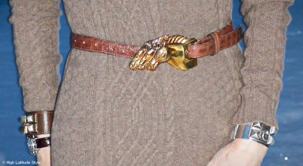 #accessoriesover40 Kieselstein Cord belt and Collier de Chien bracelet