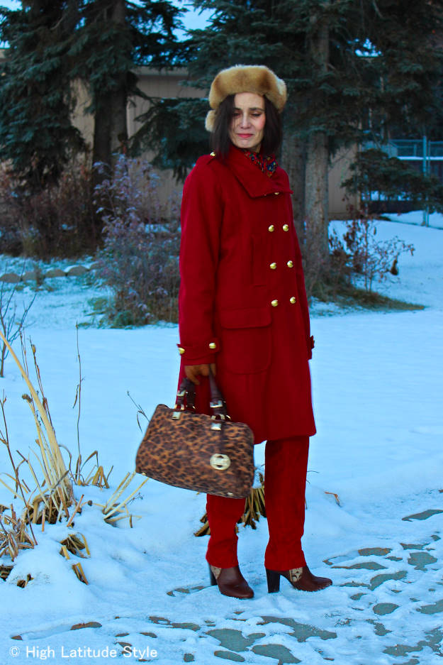 #midlifestyle woman in hot red monochromatic winter work outfit