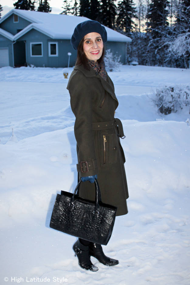 fashion over 40 Burberry coat with scarf, gloves and beret