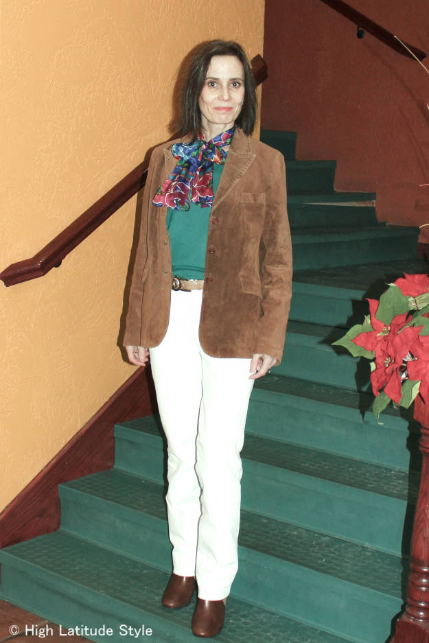 #fashionover50 American classic work outfit with suede leather jacket, sweater, white pants