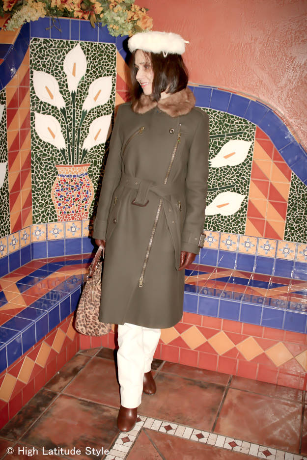 #over40 Winter outerwear with white leather pants   High Latitude Style   http://www.highlatitudestyle.com