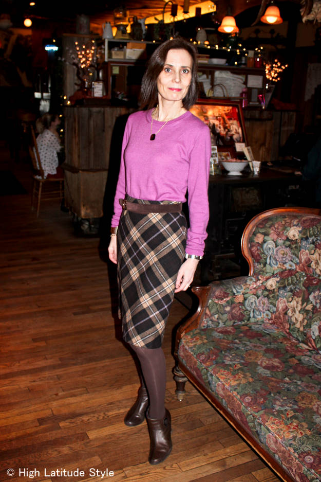 #fashionover40 #fashionover50 Looking ageless in the 70s trend in an A-line bias plaid skirt and sweater