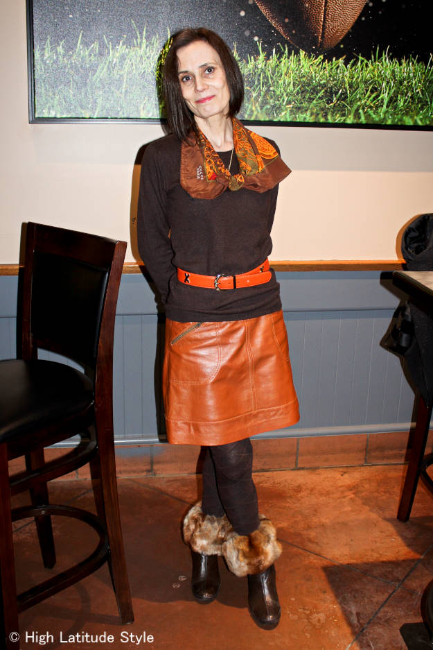 #over40 work outfit with leather skirt | High Latitude Style | http://www.highlatitudestyle.com
