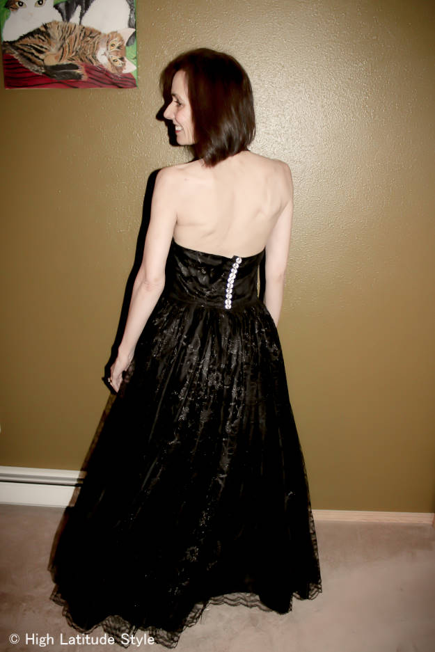 #fashionover40 woman in black lace evening gown suitable for a military ball