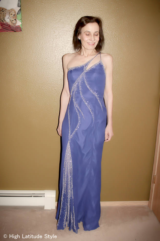 style over 40 women in a blue beaded evening gown