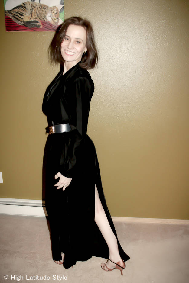 #fashionover50 evening gown with back slit