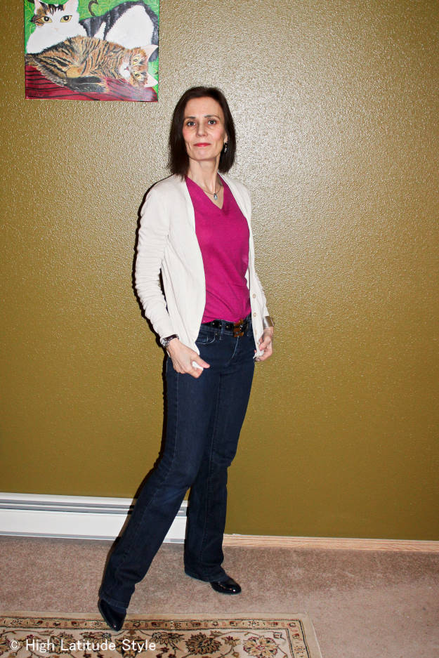 #midlifestyle older woman in jeans, cardigan and sweater