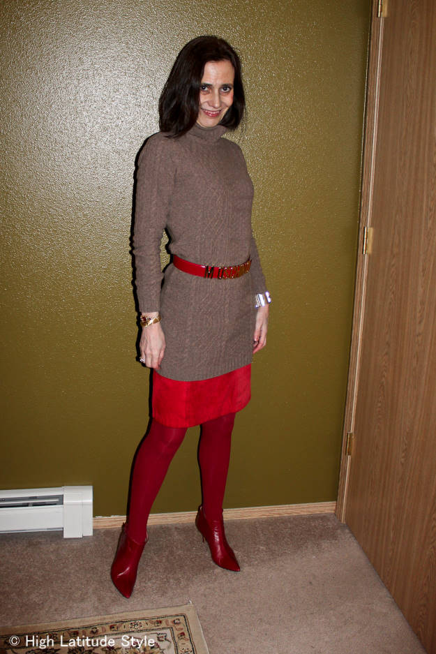 work outfit with knitted dress over skirt
