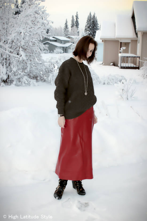 #over40fashion long leather skirt with cable knit sweater and wedge sneakers