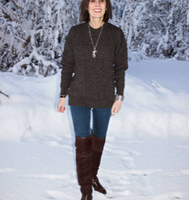 #over40fashion #fashionover50 How to style over-the-knee boots: example weekend look in the weekly Ageless Style series @ High Latitude Style @ http://www.highlatitudestyle.com