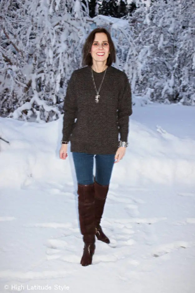 40+ year old woman wearing over-the-knee boots