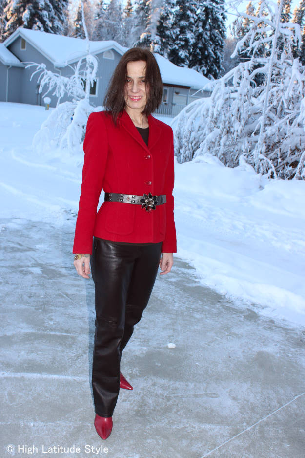 #midlifestyle mature woman in blazer with leather pants