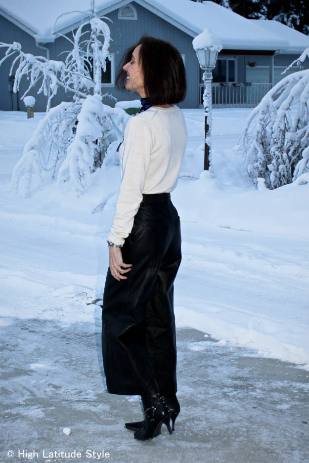 stylist wearing leather culottes