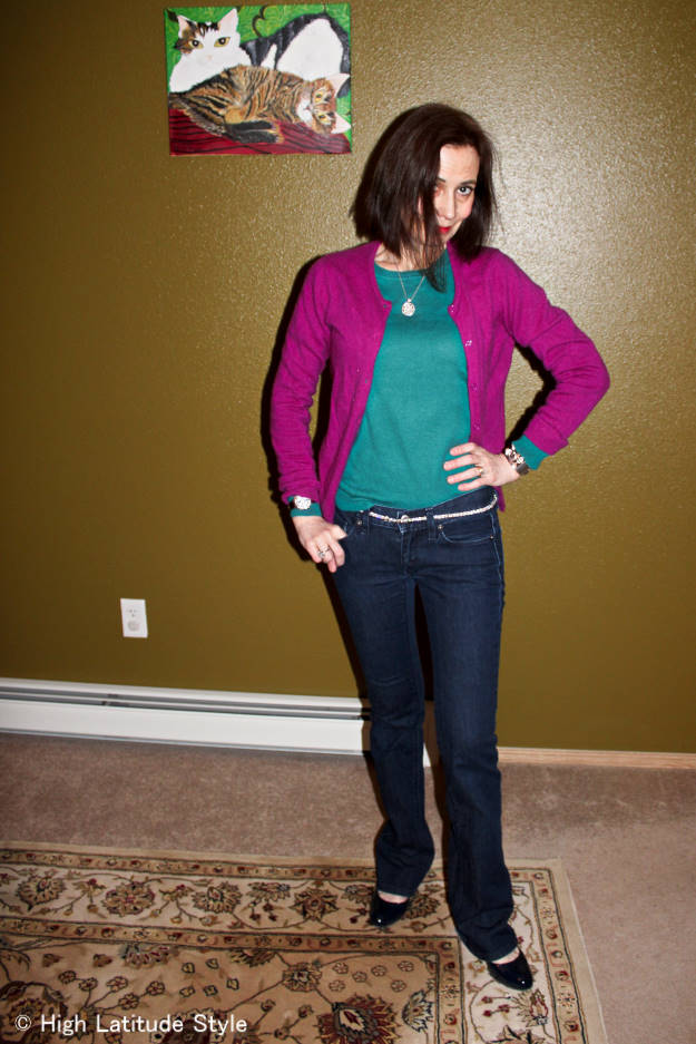 #fashionover50 Casual Friday outfit with dark jeans, sweater and cardigan