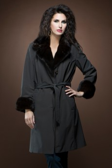 ML Furs Brown Mid-Length Rain Coat with Rabbit Fur Liner and Mink Trim
