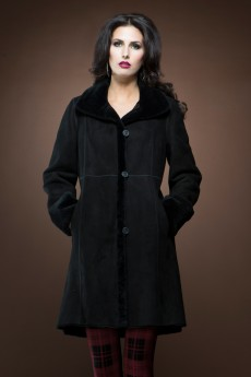 ML Furs Spanish Noir mid-length shearling coat