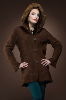 ML Furs Spanish Brown Reversible Hooded Mid-Length Orylag and Shearling Coat