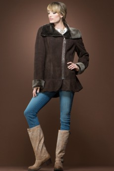 ML Furs Spanish Brown Brisa Mid-Length Shearling Coat