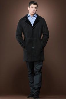ML Furs men's Spanish black trench mid-length shearling coat