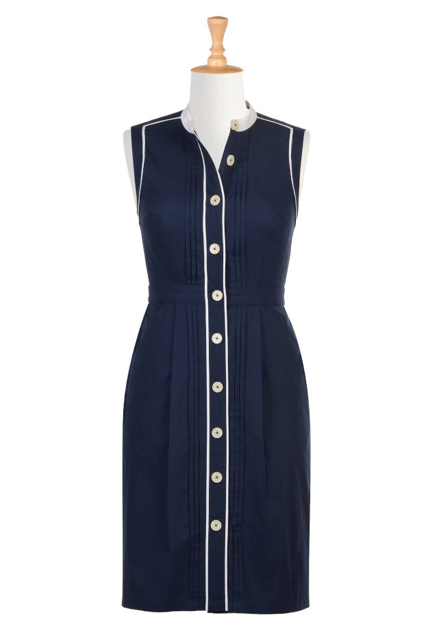 #maturefashion Spring trend shirt dress in blue and white