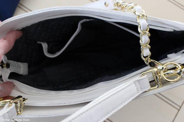 Details of inside compartment of Olivia + Joy spring bag