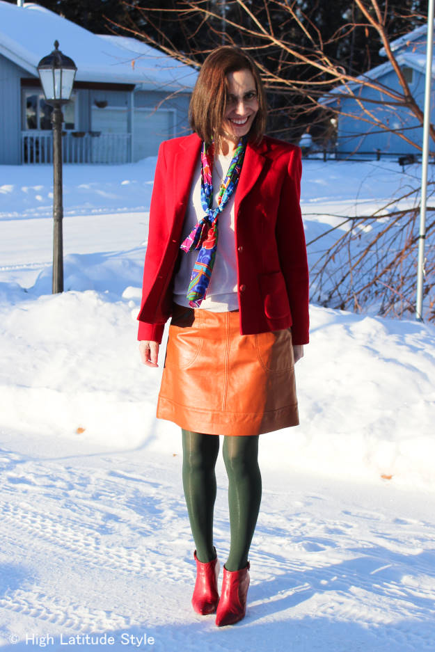 #over40 #over50 red blazer with scarf | High Latitude Style | http://www.highlatitudestyle.com