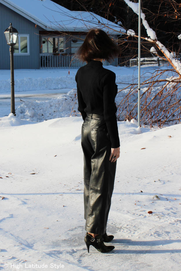 #over40fashion woman in leather culottes for air travel