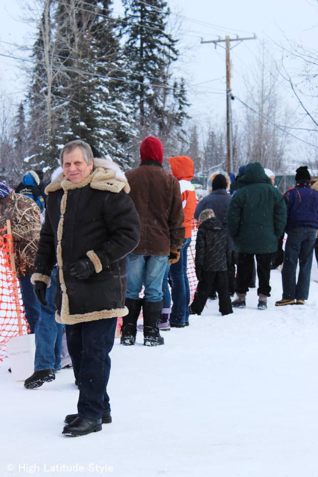 #fashionover60 Alaskan man wearing an Aleutian parka at the Iditarod start