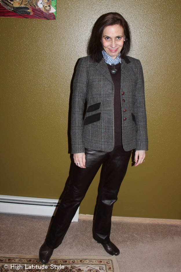 over 50 fashion blogger in a St. Patricks Day outfit inspriration with Irish blazer and leather pants