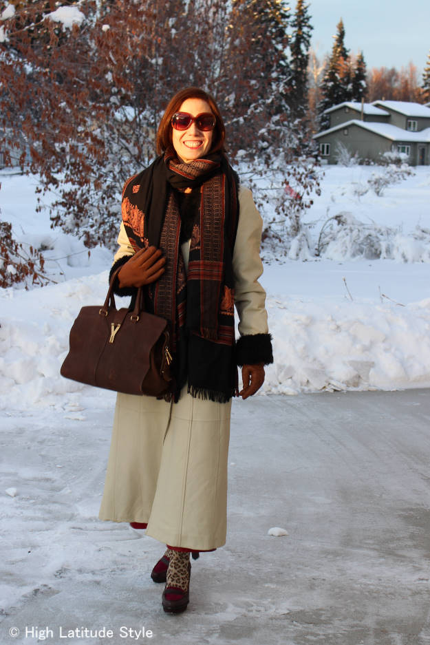 #over40fashion Spring outfit with long leather coat