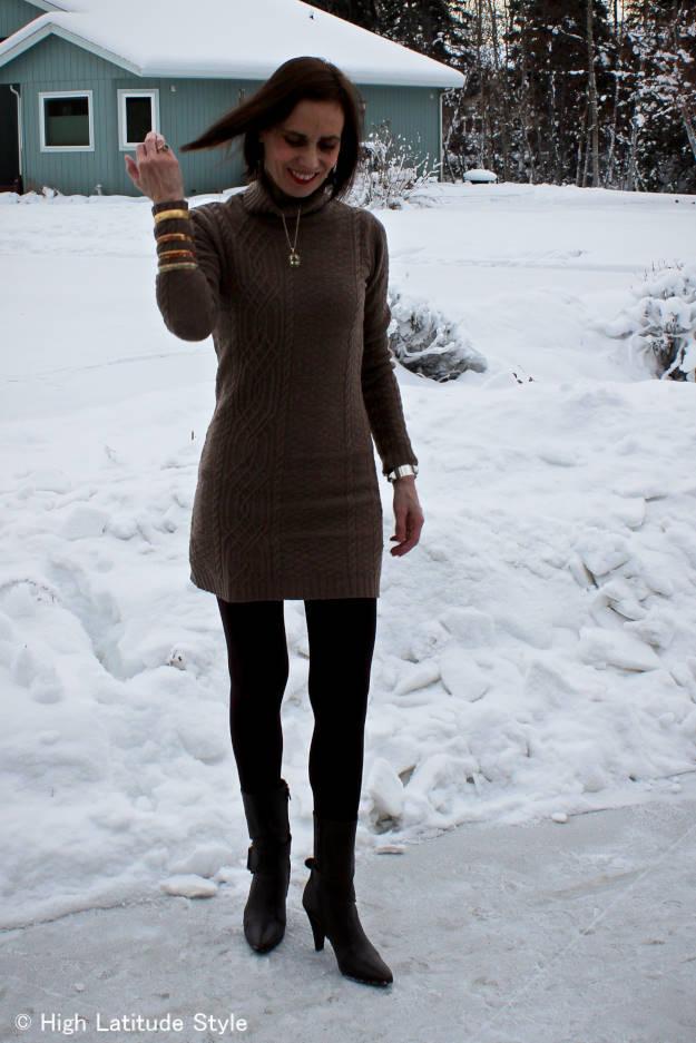 fashionover40 woman in knit dress