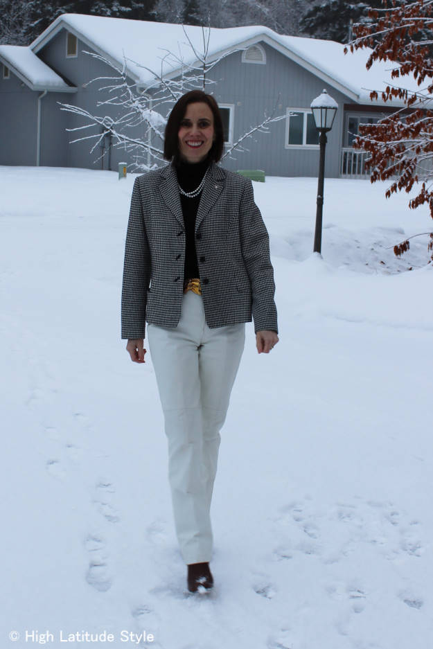#fashionover40 spring black and white trend winterized as a work outfit