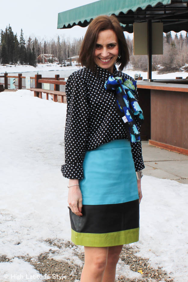 #fashionover50 woman wearing greenery