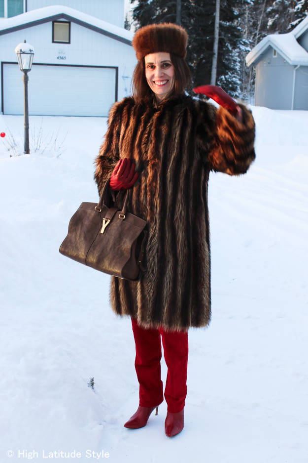 #styleover40 Alaska spring outfit with striped coat