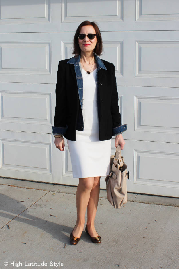 #style-over-50 mature woman in a spring dress styled for work on a late winter day