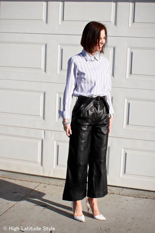 modern version of Katharine Hepburn culottes with shirt