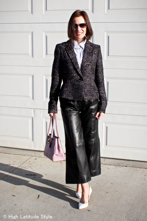 #fashionover40 woman in a tweed blazer with leather culottes